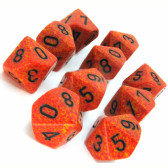 Orange & Yellow 'Fire' Speckled D10 Ten Sided Dice Set